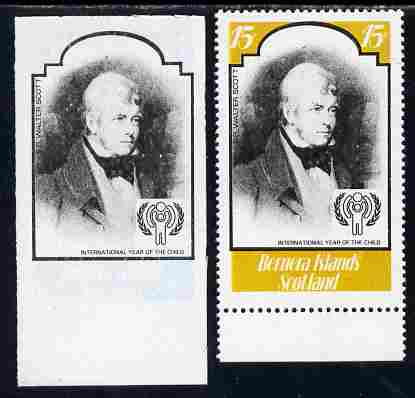 Bernera 1979 Int Year of the Child - Writers - Sir Walter Scott 15p imperf proof in black only complete with perf label as issued both unmounted mint