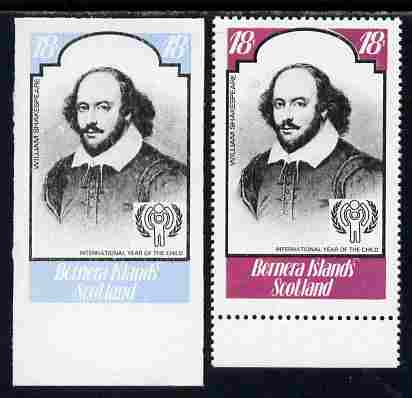 Bernera 1979 Int Year of the Child - Writers - William Shakespeare 18p imperf proof in blue & black only complete with perf label as issued both unmounted mint, stamps on personalities, stamps on literature, stamps on shakespeare, stamps on  iyc , stamps on