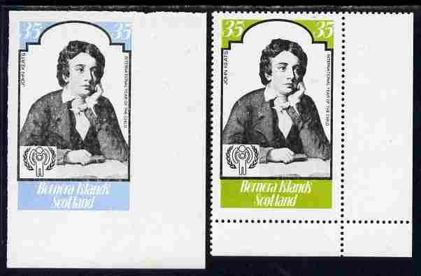 Bernera 1979 Int Year of the Child - Writers - John Keats 35p imperf proof in blue & black only complete with perf label as issued both unmounted mint