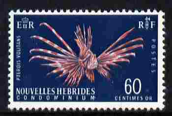 New Hebrides - French 1963-72 Lionfish 60c definitive unmounted mint, SG F120, stamps on fish, stamps on marine life