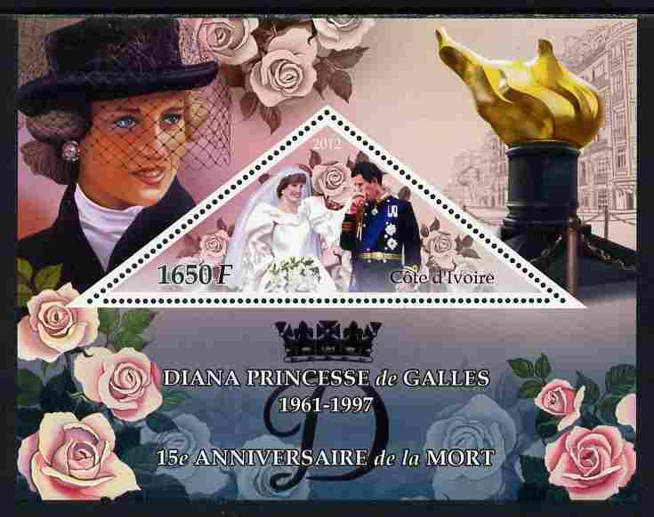 Ivory Coast 2012 Princess Diana perf s/sheet containing large triangular value unmounted mint