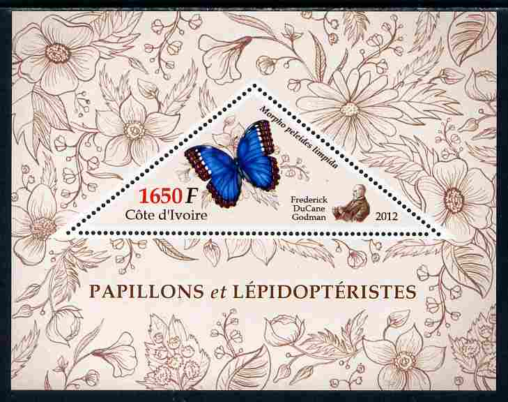 Ivory Coast 2012 Butterflies perf s/sheet containing large triangular value unmounted mint
