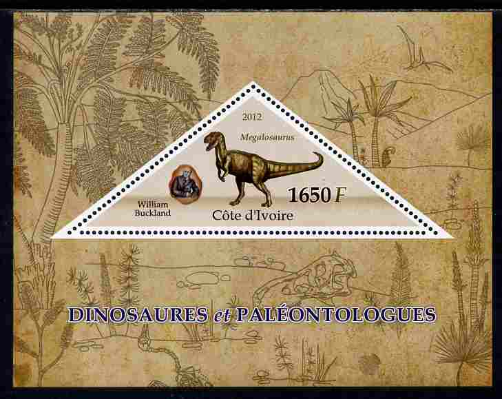 Ivory Coast 2012 Dinosaurs & Paleontologists perf s/sheet containing large triangular value unmounted mint