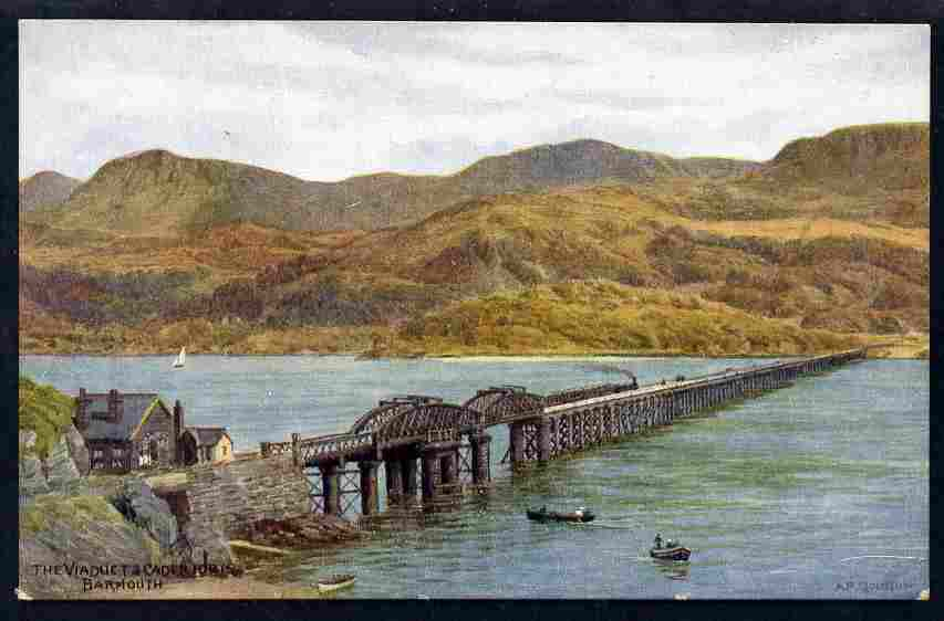 Postcard Viaduct & Cader Idris published by Salmon based on watercolour by A R Quinton unused and fine