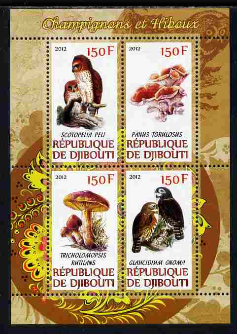Djibouti 2012 Mushrooms & Owls #1 perf sheetlet containing 4 values unmounted mint