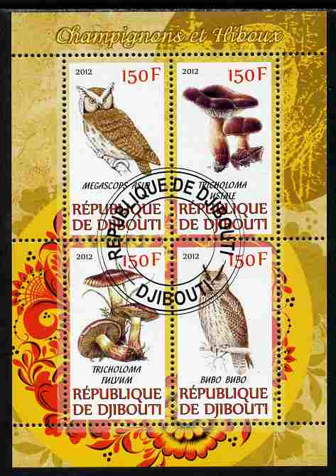 Djibouti 2012 Mushrooms & Owls #2 perf sheetlet containing 4 values cto used