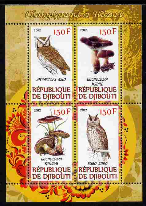 Djibouti 2012 Mushrooms & Owls #2 perf sheetlet containing 4 values unmounted mint
