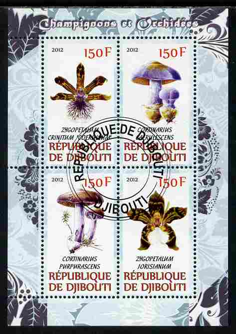 Djibouti 2012 Mushrooms & Orchids #2 perf sheetlet containing 4 values cto used