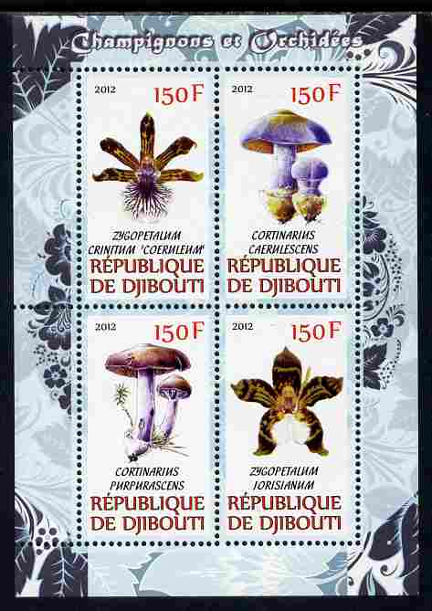 Djibouti 2012 Mushrooms & Orchids #2 perf sheetlet containing 4 values unmounted mint