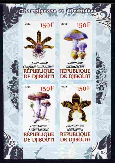 Djibouti 2012 Mushrooms & Orchids #2 imperf sheetlet containing 4 values unmounted mint