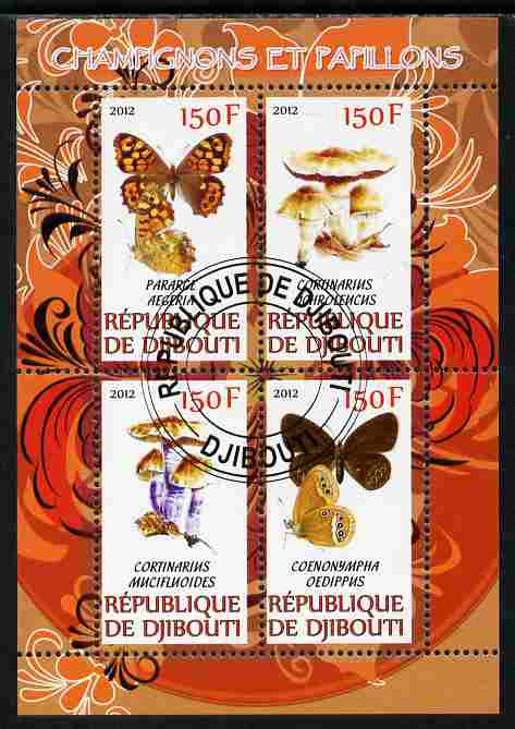 Djibouti 2012 Mushrooms & Butterflies #1 perf sheetlet containing 4 values cto used