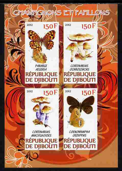 Djibouti 2012 Mushrooms & Butterflies #1 imperf sheetlet containing 4 values unmounted mint