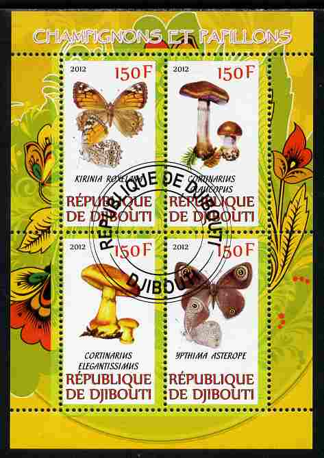Djibouti 2012 Mushrooms & Butterflies #2 perf sheetlet containing 4 values cto used