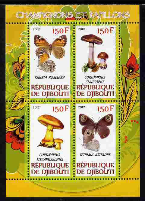 Djibouti 2012 Mushrooms & Butterflies #2 perf sheetlet containing 4 values unmounted mint