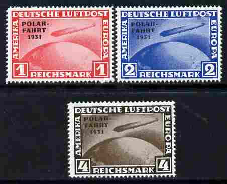 Germany 1931 Zeppelin Polar Flight set of 3 reprints stamped 'Privater Nachdruck' on reverse, unmounted mint as SG 469-71 originals cat \A3900