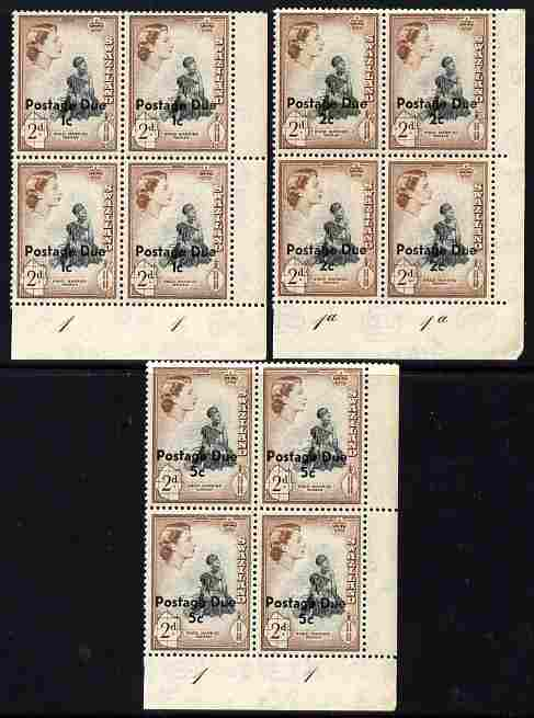 Swaziland 1961 Postage Due surcharged set of 3 each in corner plate blocks of 4 unmounted mint SG D7-9
