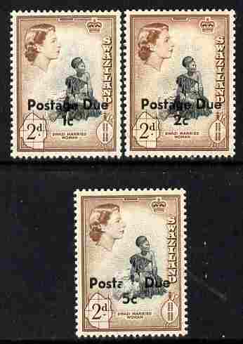 Swaziland 1961 Postage Due surcharged set of 3 unmounted mint SG D7-9