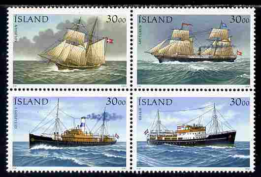 Iceland 1991 Stamp Day - Ships set of 4 in se-tenant block unmounted mint SG 777a