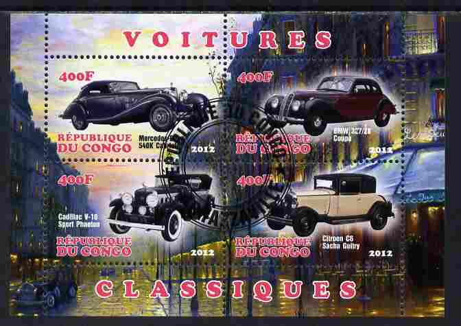 Congo 2012 Early Cars perf sheetlet containing 4 values fine cto used, stamps on cars