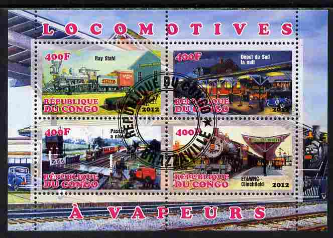 Congo 2012 Steam Locomotives perf sheetlet containing 4 values fine cto used