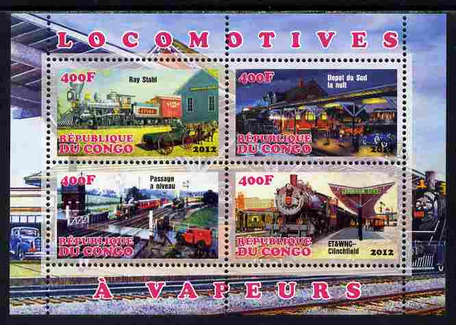 Congo 2012 Steam Locomotives perf sheetlet containing 4 values unmounted mint