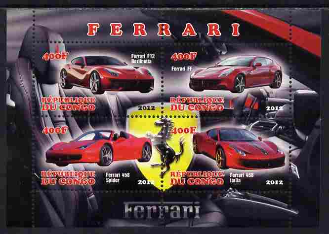 Congo 2012 Ferrari Cars perf sheetlet containing 4 values unmounted mint