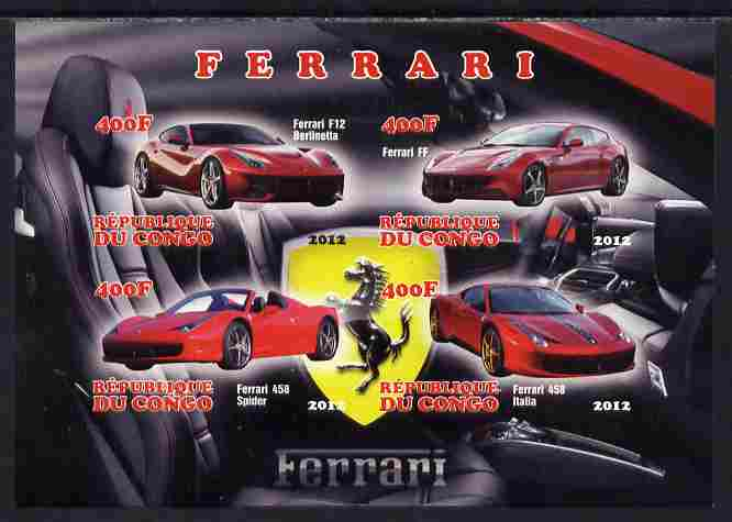 Congo 2012 Ferrari Cars imperf sheetlet containing 4 values unmounted mint