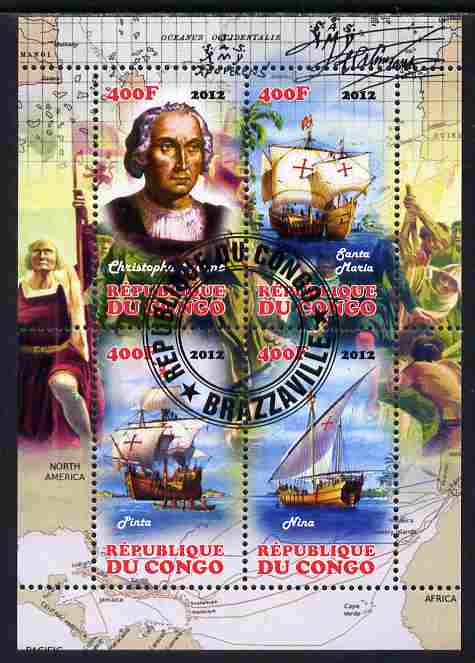 Congo 2012 Christopher Columbus perf sheetlet containing 4 values fine cto used