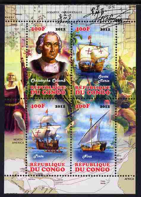 Congo 2012 Christopher Columbus perf sheetlet containing 4 values unmounted mint