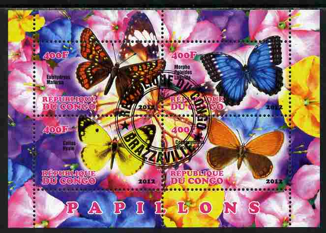 Congo 2012 Butterflies #1 perf sheetlet containing 4 values fine cto used