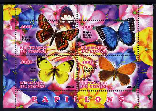 Congo 2012 Butterflies #1 perf sheetlet containing 4 values unmounted mint