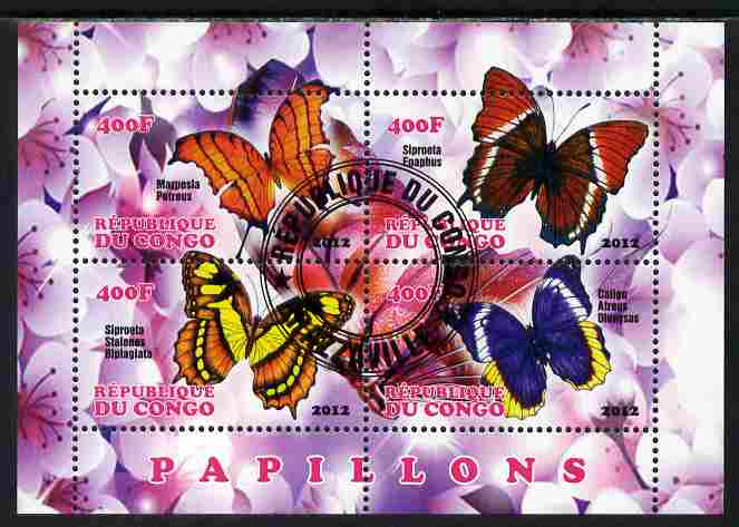 Congo 2012 Butterflies #3 perf sheetlet containing 4 values fine cto used