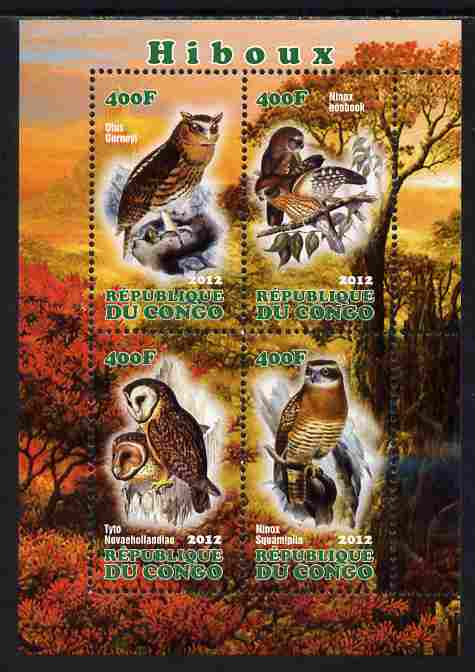 Congo 2012 Owls perf sheetlet containing 4 values unmounted mint