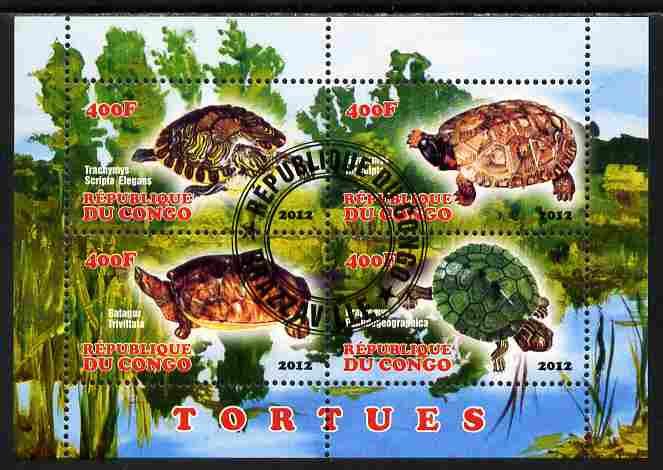 Congo 2012 Turtles perf sheetlet containing 4 values fine cto used