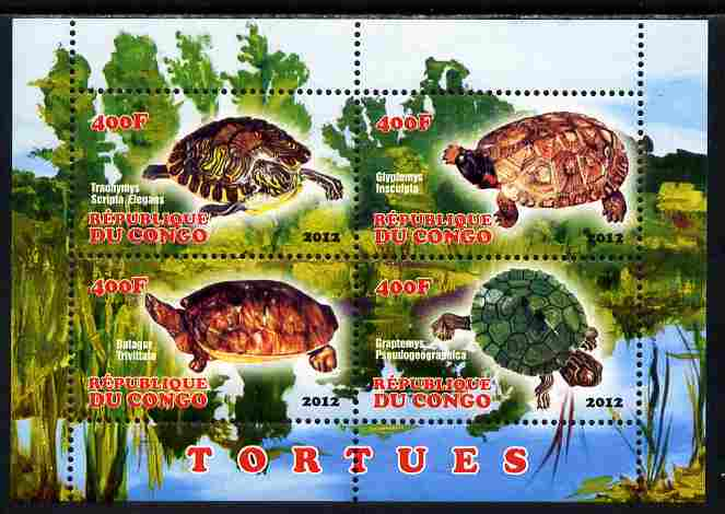 Congo 2012 Turtles perf sheetlet containing 4 values unmounted mint