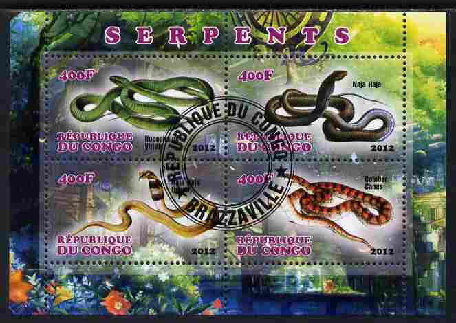 Congo 2012 Snakes perf sheetlet containing 4 values fine cto used