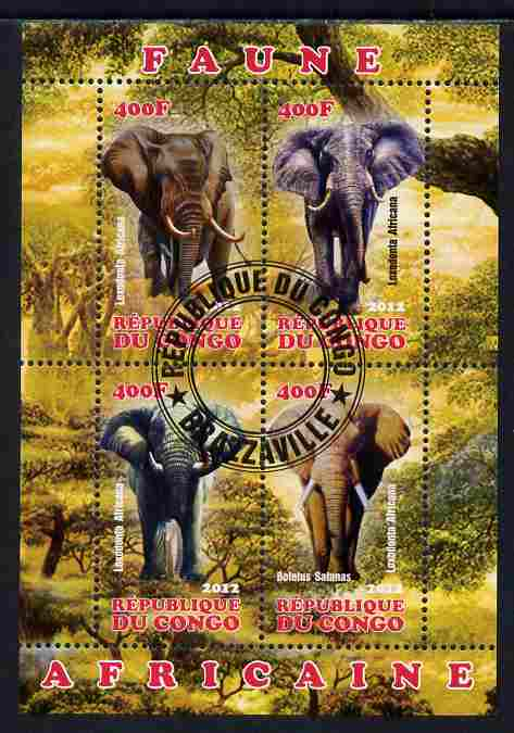 Congo 2012 Elephants perf sheetlet containing 4 values fine cto used