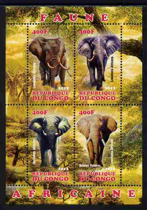 Congo 2012 Elephants perf sheetlet containing 4 values unmounted mint, stamps on animals, stamps on elephants