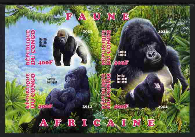 Congo 2012 Gorillas imperf sheetlet containing 4 values unmounted mint