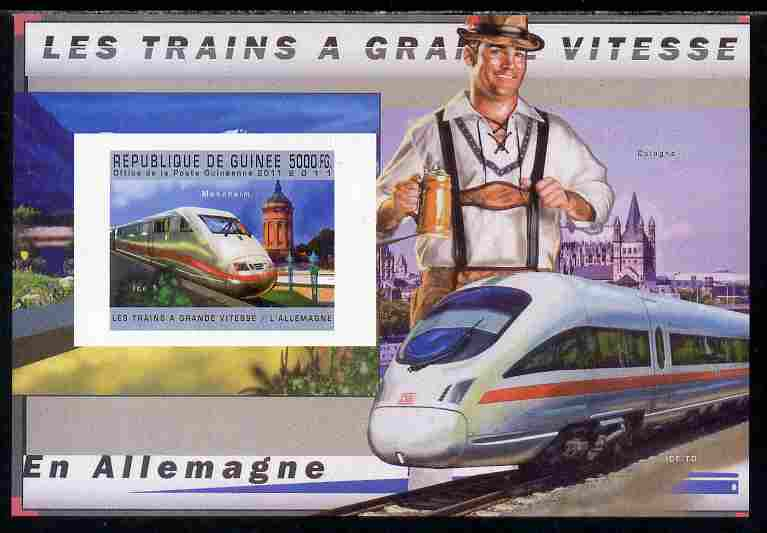 Guinea - Conakry 2011 High Speed Trains of Germany #2 imperf deluxe sheet unmounted mint. Note this item is privately produced and is offered purely on its thematic appeal