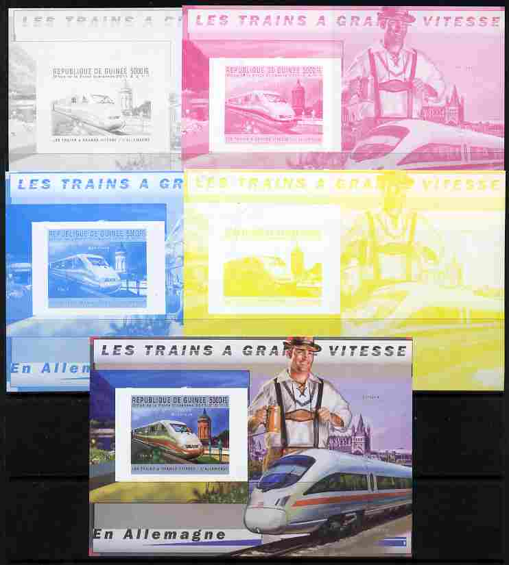 Guinea - Conakry 2011 High Speed Trains of Germany #2 deluxe sheet - the set of 5 imperf progressive proofs comprising the 4 individual colours plus all 4-colour composite, unmounted mint