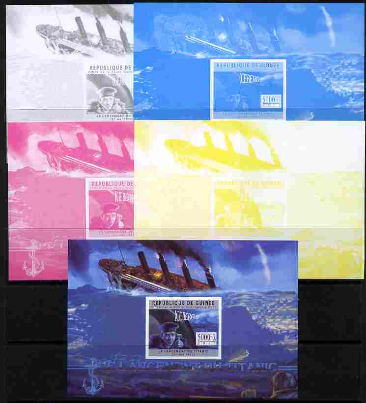 Guinea - Conakry 2011 Sinking of the Titanic #1 deluxe sheet - the set of 5 imperf progressive proofs comprising the 4 individual colours plus all 4-colour composite, unmounted mint