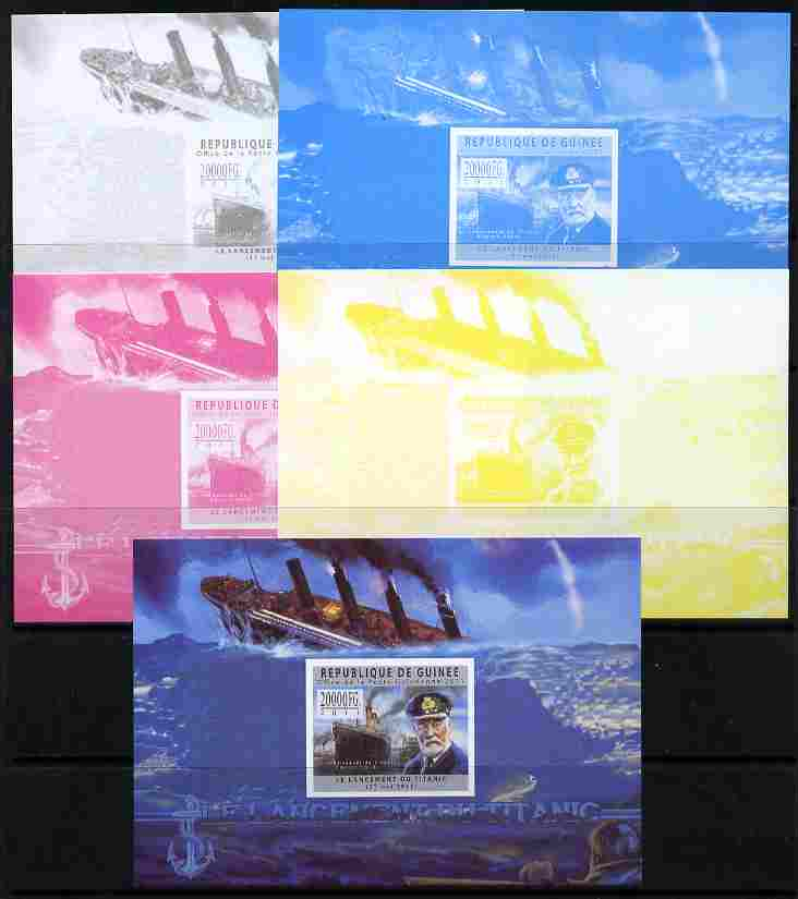 Guinea - Conakry 2011 Sinking of the Titanic #2 deluxe sheet - the set of 5 imperf progressive proofs comprising the 4 individual colours plus all 4-colour composite, unmounted mint