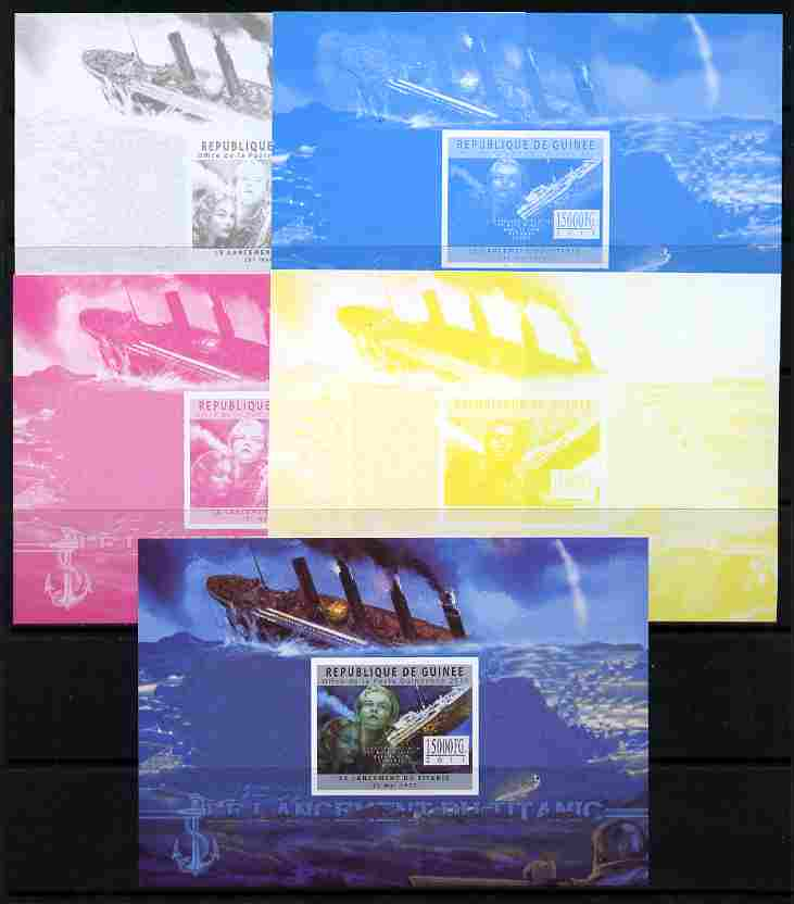 Guinea - Conakry 2011 Sinking of the Titanic #3 deluxe sheet - the set of 5 imperf progressive proofs comprising the 4 individual colours plus all 4-colour composite, unmounted mint