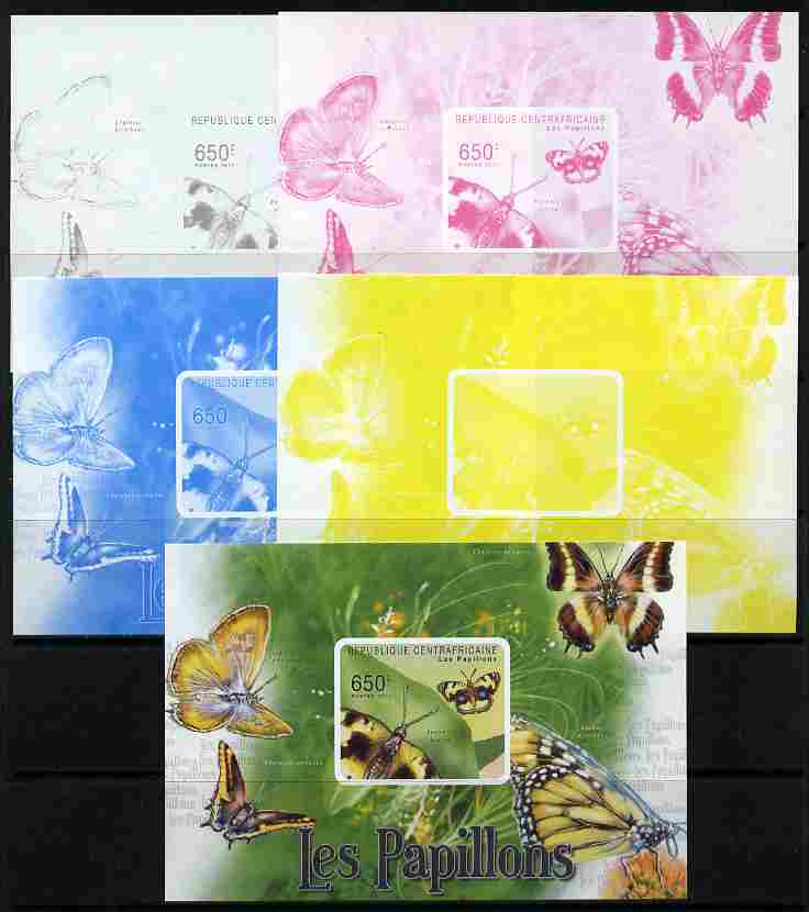 Central African Republic 2011 Butterflies #3 deluxe sheet - the set of 5 imperf progressive proofs comprising the 4 individual colours plus all 4-colour composite, unmounted mint
