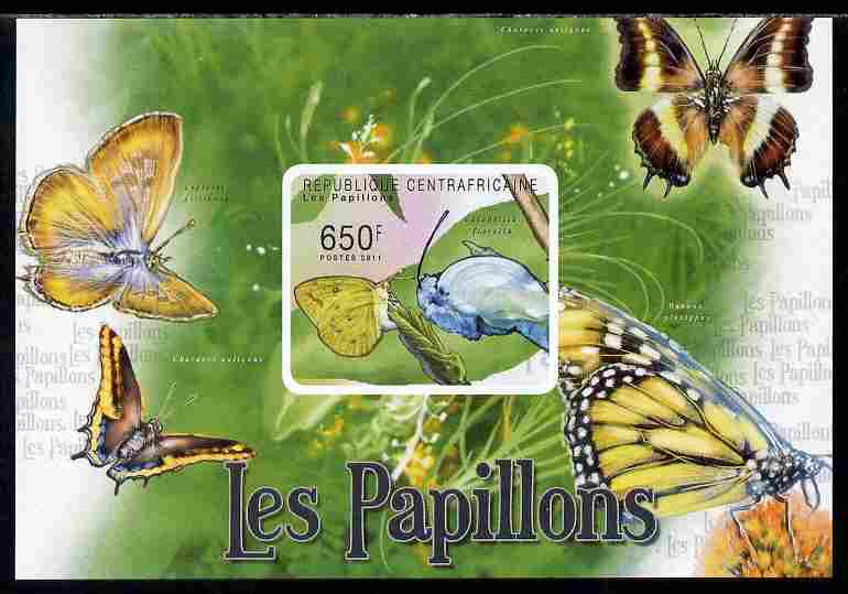 Central African Republic 2011 Butterflies #4 imperf deluxe sheet unmounted mint. Note this item is privately produced and is offered purely on its thematic appeal