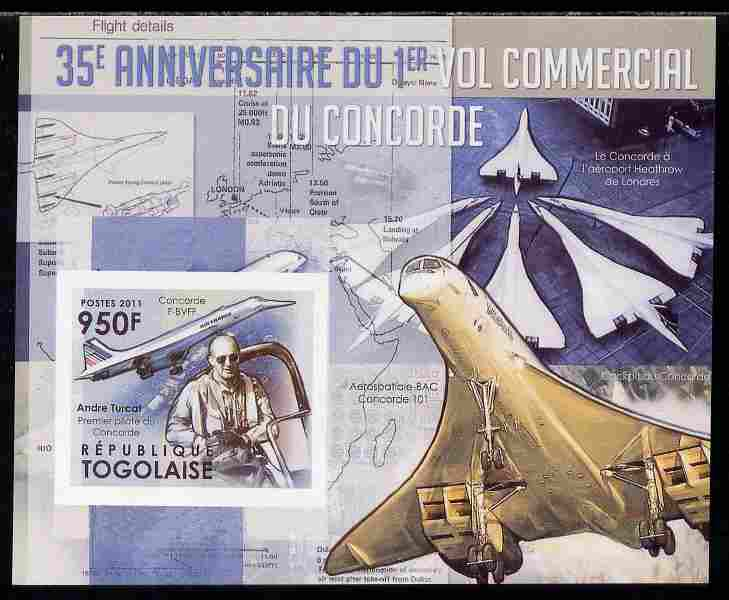 Togo 2011 35th Anniversary of 1st Commercial Flight of Concorde #1 imperf deluxe sheet unmounted mint. Note this item is privately produced and is offered purely on its thematic appeal