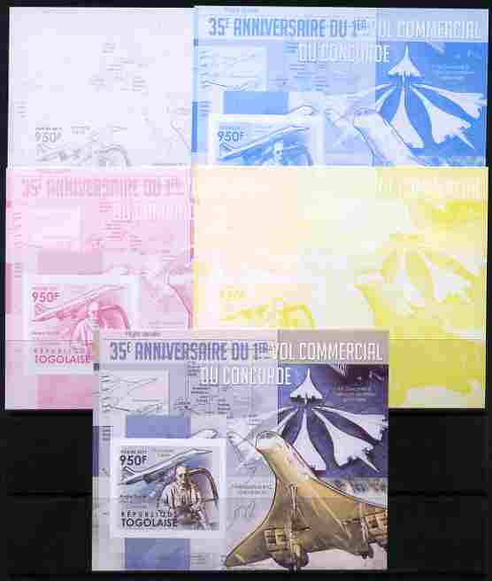 Togo 2011 35th Anniversary of 1st Commercial Flight of Concorde #1 deluxe sheet - the set of 5 imperf progressive proofs comprising the 4 individual colours plus all 4-co...