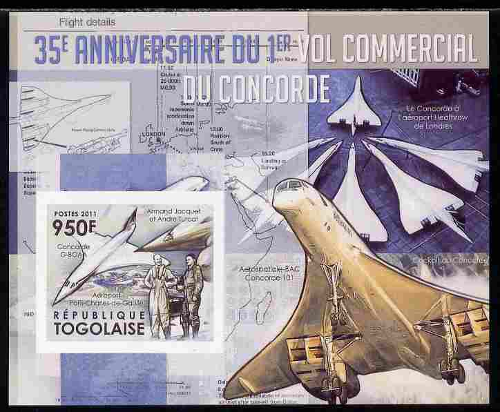 Togo 2011 35th Anniversary of 1st Commercial Flight of Concorde #2 imperf deluxe sheet unmounted mint. Note this item is privately produced and is offered purely on its t...