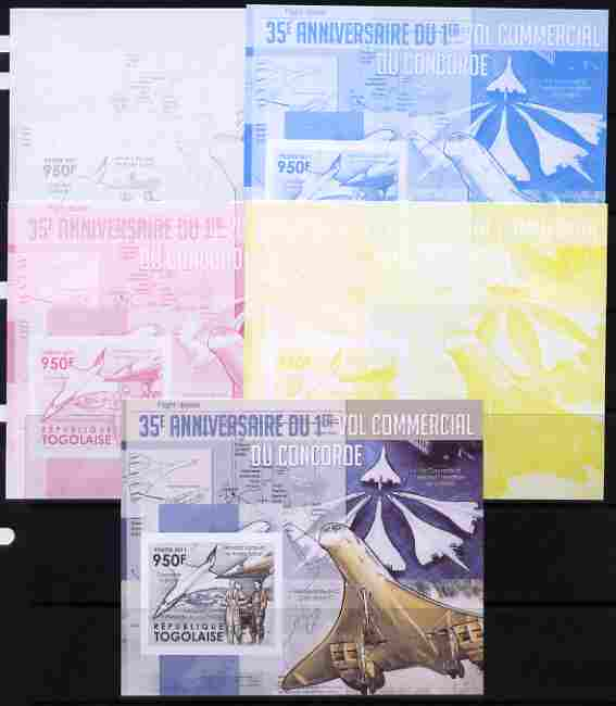 Togo 2011 35th Anniversary of 1st Commercial Flight of Concorde #2 deluxe sheet - the set of 5 imperf progressive proofs comprising the 4 individual colours plus all 4-co...
